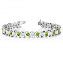 Peridot & Diamond Tennis S Link Bracelet 14k White Gold (4.00ct)