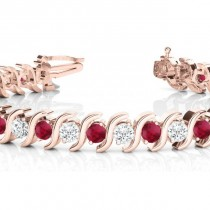 Ruby & Diamond Tennis S Link Bracelet 14k Rose Gold (4.00ct)|escape