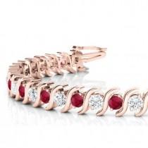 Ruby & Diamond Tennis S Link Bracelet 14k Rose Gold (4.00ct)
