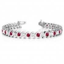 Ruby & Diamond Tennis S Link Bracelet 14k White Gold (4.00ct)