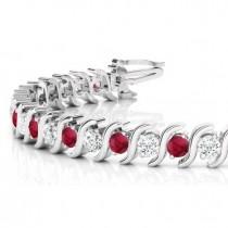Ruby & Diamond Tennis S Link Bracelet 14k White Gold (4.00ct)