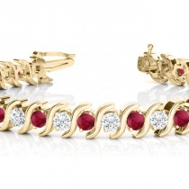 Ruby & Diamond Tennis S Link Bracelet 14k Yellow Gold (4.00ct)