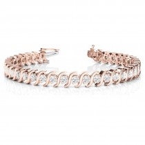 Diamond Tennis S Link Bracelet 18k Rose Gold (5.00ct)