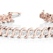 Diamond Tennis S Link Bracelet 18k Rose Gold (5.00ct)