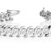 Diamond Tennis S Link Bracelet 18k White Gold (5.00ct)