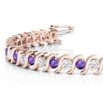 Amethyst & Diamond Tennis S Link Bracelet 18k Rose Gold (6.00ct)