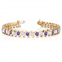 Amethyst & Diamond Tennis S Link Bracelet 18k Yellow Gold (6.00ct)