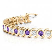 Amethyst & Diamond Tennis S Link Bracelet 18k Yellow Gold (6.00ct)