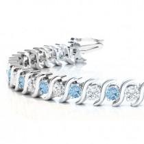 Aquamarine & Diamond Tennis S Link Bracelet 18k White Gold (6.00ct)