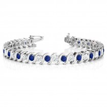 Blue Sapphire & Diamond Tennis S Link Bracelet 18k White Gold (6.00ct)