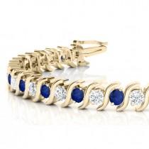Blue Sapphire & Diamond Tennis S Link Bracelet 18k Yellow Gold (6.00ct)