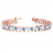 Blue Topaz & Diamond Tennis S Link Bracelet 18k Rose Gold (6.00ct)