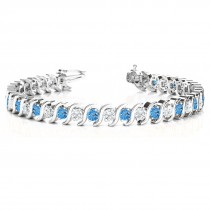 Blue Topaz & Diamond Tennis S Link Bracelet 18k White Gold (6.00ct)