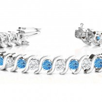 Blue Topaz & Diamond Tennis S Link Bracelet 18k White Gold (6.00ct)|escape