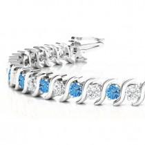 Blue Topaz & Diamond Tennis S Link Bracelet 18k White Gold (6.00ct)