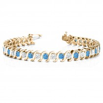 Blue Topaz & Diamond Tennis S Link Bracelet 18k Yellow Gold (6.00ct)