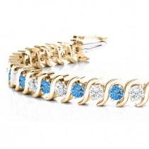 Blue Topaz & Diamond Tennis S Link Bracelet 18k Yellow Gold (6.00ct)