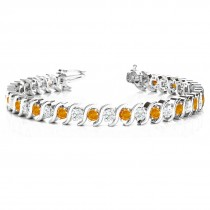 Citrine & Diamond Tennis S Link Bracelet 18k White Gold (6.00ct)