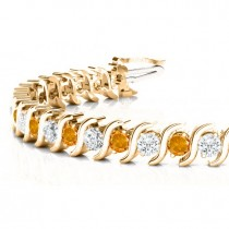 Citrine & Diamond Tennis S Link Bracelet 18k Yellow Gold (6.00ct)
