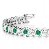 Emerald & Diamond Tennis S Link Bracelet 18k White Gold (6.00ct)