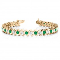 Emerald & Diamond Tennis S Link Bracelet 18k Yellow Gold (6.00ct)