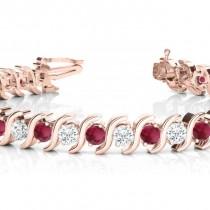 Garnet & Diamond Tennis S Link Bracelet 18k Rose Gold (6.00ct)