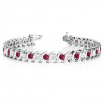 Garnet & Diamond Tennis S Link Bracelet 18k White Gold (6.00ct)