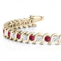 Garnet & Diamond Tennis S Link Bracelet 18k Yellow Gold (6.00ct)