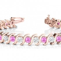 Pink Sapphire & Diamond Tennis S Link Bracelet 18k Yellow Gold (6.00ct)