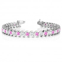 Pink Sapphire & Diamond Tennis S Link Bracelet 18k White Gold (6.00ct)