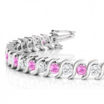 Pink Sapphire & Diamond Tennis S Link Bracelet 18k White Gold (6.00ct)
