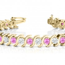 Pink Sapphire & Diamond Tennis S Link Bracelet 18k Yellow Gold (6.00ct)