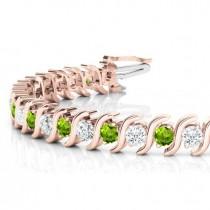 Peridot & Diamond Tennis S Link Bracelet 18k Yellow Gold (6.00ct)