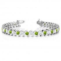 Peridot & Diamond Tennis S Link Bracelet 18k White Gold (6.00ct)