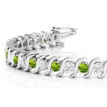 Peridot & Diamond Tennis S Link Bracelet 18k White Gold (6.00ct)
