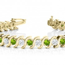 Peridot & Diamond Tennis S Link Bracelet 18k Yellow Gold (6.00ct)