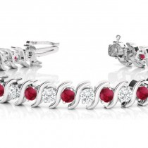 Ruby & Diamond Tennis S Link Bracelet 18k White Gold (6.00ct)