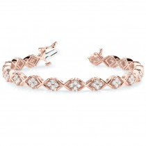 Diamond Twisted Cluster Link Bracelet 14k Rose Gold (2.16ct)