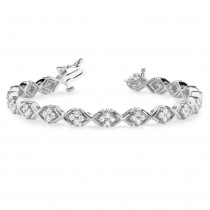 Diamond Twisted Cluster Link Bracelet 14k White Gold (2.16ct)