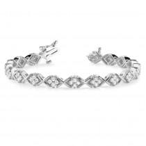 Diamond Twisted Cluster Link Bracelet 14k White Gold (2.16ct)