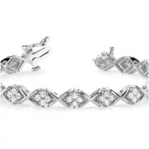 Diamond Twisted Cluster Link Bracelet 14k White Gold (2.16ct)|escape