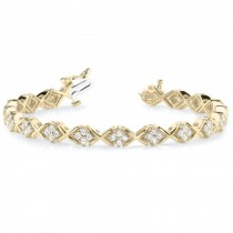 Diamond Twisted Cluster Link Bracelet 14k Yellow Gold (2.16ct)