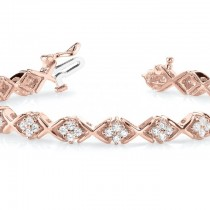 Diamond Twisted Cluster Link Bracelet 18k Rose Gold (2.16ct)|escape