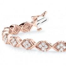 Diamond Twisted Cluster Link Bracelet 18k Rose Gold (2.16ct)