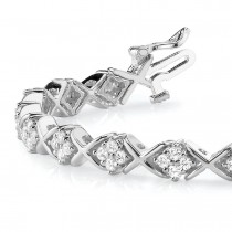 Diamond Twisted Cluster Link Bracelet 18k White Gold (2.16ct)
