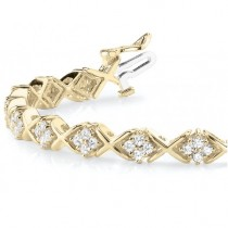 Diamond Twisted Cluster Link Bracelet 18k Yellow Gold (2.16ct)