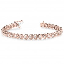 Diamond Tennis Heart Link Bracelet 14k Rose Gold (1.23ct)