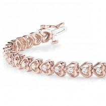 Diamond Tennis Heart Link Bracelet 14k Rose Gold (1.23ct)