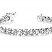Diamond Tennis Heart Link Bracelet 14k White Gold (1.23ct)|escape