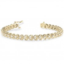 Diamond Tennis Heart Link Bracelet 14k Yellow Gold (1.23ct)